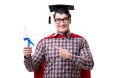 Super bohatera uczeń kończy studia będący ubranym moździerz deski nakrętkę odizolowywającą Fotografia Stock