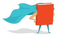 Super book hero with cape. Cartoon illustration of a book super hero with cape stock illustration