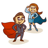 Super Boss. Businessman And Businesswoman With Superhero Cape Royalty Free Stock Photo