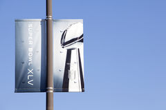 Super Bowl 45 Banner. On light pole. Off Center for copy space royalty free stock images