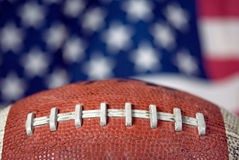 football on American flag background Stock Photography