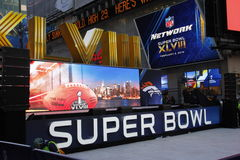 Super bowl boulevard. Activities in Times Square Manhattan, in preparation of the 48th super bowl Image taken Jan 30, 2014 stock photo