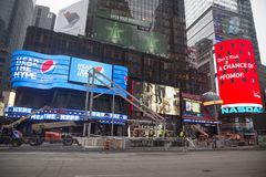 Super Bowl Boulevard construction underway on Times Square during Super Bowl XLVIII week in Manhattan Stock Photography