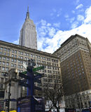 Super Bowl Boulevard and Empire State Building Royalty Free Stock Photo