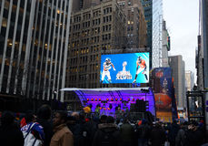 Super Bowl Boulevard. Football fans gathered on Broadway, during the Super Bowl Boulevard event in New York, on January 31, 2014 stock photos