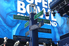 Super Bowl Boulevard. In Midtown Manhattan, where NFL fans congregate to celebrate Super Bowl XLVIII royalty free stock images