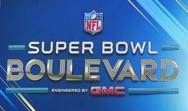 Super Bowl-Boulevardanschlagtafel auf Broadway während der Woche des Super Bowl XLVIII in Manhattan Stockfotografie