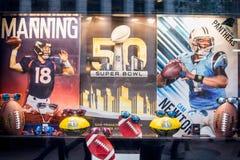 Super Bowl 50 Broncos and Panthers. Denver Broncos Peyton Manning vs. Carolina Panthers Cam Newton in Super Bowl 50. Photo taken on January 30th, 2016 royalty free stock photo