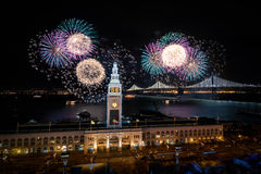 Super Bowl City Fireworks. Bay bridge lighting and fireworks for Super Bowl 50 in San Francisco, California, USA royalty free stock photos