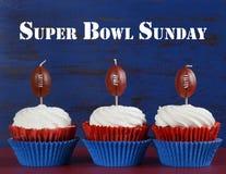 Super Bowl cupcakes met steekproeftekst royalty-vrije stock foto's