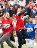 Super Bowl 7 0n 7 Tournament, Katy, Tx. Red Team Wide Receiver catching a pass from Kirk Cousins Stock Photography