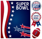 Super Bowl Set. Collection for the american Super Bowl, the annual championship game of the National Football League, including a stars and stripes background, a Royalty Free Stock Photography