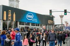Super Bowl-Stadt Intel in San Francisco Lizenzfreie Stockfotos