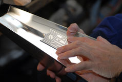 Super Bowl Trophy being made. royalty free stock images