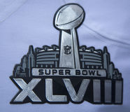 Super Bowl XLVIII logo on Seattle Seahawks team uniform presented during Super Bowl XLVIII week in Manhattan. NEW YORK - JANUARY 30 Super Bowl XLVIII logo on stock photography