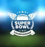 Super Bowlmästerskap Logo Sport Design Template royaltyfri illustrationer
