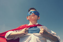 Super boy. Kid superhero concept with little boy Royalty Free Stock Photo