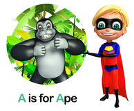 Super boy pointing Ape Royalty Free Stock Photography
