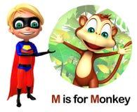 Super boy pointing Monkey Stock Image