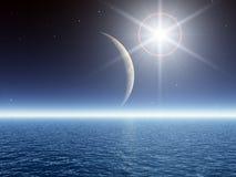 Super Bright Star over Sea. Super Bright Nova Star over Sea Royalty Free Stock Images