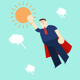Super business man in red capes flying upwards Stock Photos