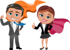 Businessman and businesswoman superheros isolated. Illustration featuring business man Bob showing her muscles and business woman Meg in an optimistic pose with vector illustration