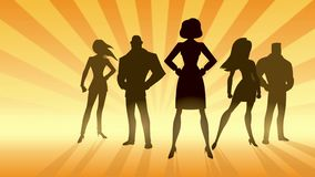 Super Business Team. Conceptual animation depicting business team with female leader or manager royalty free illustration