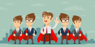Super business team. Illustration of super leader and super businessmen in red capes stock illustration