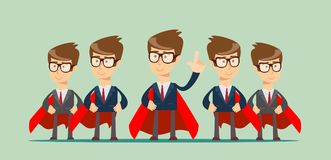 Super business team. Illustration of super leader and super businessmen in red capes. Stock flat vector vector illustration