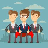 Super business team. Illustration of super leader and super businessmen in red capes royalty free illustration