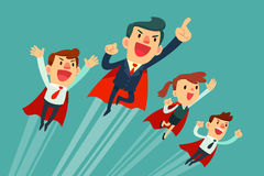 Super business team in red capes flying upwards. Super business team-team of super businessmen in red capes flying upwards to their success vector illustration