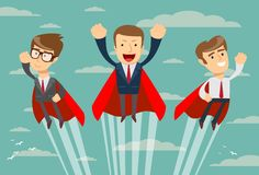 Super business team in red capes flying upwards to their success vector illustration