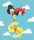Super Business Woman  pulling silver Dollar money symbol Royalty Free Stock Images