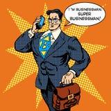 Super businessman answering phone call Stock Photos