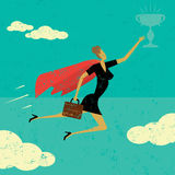 Super Businesswoman. A super businesswoman flying high to achieve her goal. The woman and trophy are on a separately labeled layer from the background Stock Photo