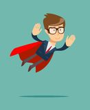 Super Businessman in a cloak of Superman. Super Businessman. Cartoon man in a cloak of Superman. Business concept illustration Royalty Free Stock Photos