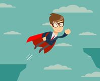 Super businessman flying across the cliff. Super Businessman in Red Cape Flying to Success. Business Superhero. man flying across the cliff . Vector illustration Stock Images