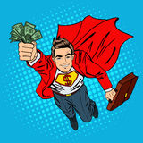 Super Businessman. Flying Businessman. Man with Money Royalty Free Stock Photos
