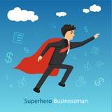 Super businessman flying forward reaching his goals stock illustration