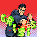 Super businessman hero against crisis business Stock Images