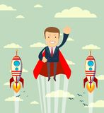 Super businessman in red capes flying upwards to his success. Stock vector illustration for poster, greeting card, website, ad, business presentation Royalty Free Stock Photography