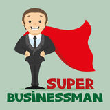 Super businessman in a red cloak. Royalty Free Stock Photos