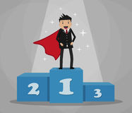 Super businessman standing on podium. Cartoon super businessman winner in black suit and red cape standing on first place on a podium. vector illustration in Stock Image