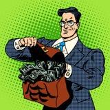 Super businessman suitcase money Stock Photography