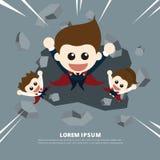 Super businessman through walls royalty free illustration