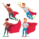 Super Businesswoman Character Vector. Achievement Victory Concept. Successful Superhero Business Person. Waving Red Cape. Super Business Woman Character Vector Royalty Free Stock Photos