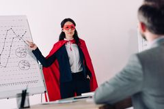 super businesswoman in mask and cape showing presentation for businessman royalty free stock image
