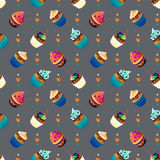 Super cake seamless pattern. Chocolate and vanilla Royalty Free Stock Images