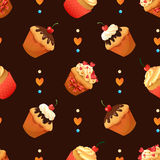 Super cake seamless pattern. Chocolate and vanilla Royalty Free Stock Image