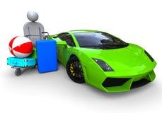 Super car baggage problem vector illustration